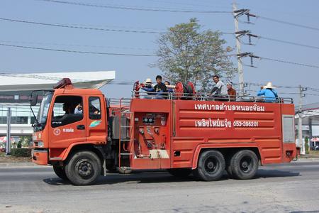 8 12: CHIANGMAI, THAILAND -FEBRUARY 12 2016:  Fire truck of Nongjom Subdistrict Administrative Organization.   On road no.1001, 8 km from Chiangmai city.