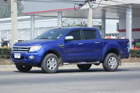 8 12: CHIANGMAI, THAILAND -FEBRUARY 12 2016:  Private Pickup car, Ford Ranger.  On road no.1001, 8 km from Chiangmai city. Editorial