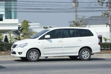8 12: CHIANGMAI, THAILAND -FEBRUARY 12 2016:   Private MPV Car, Toyota Innova. On road no.1001, 8 km from Chiangmai city.