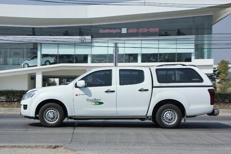 8 12: CHIANGMAI, THAILAND -FEBRUARY 12 2016:  Pickup truck of Thaibev Company.  On road no.1001, 8 km from Chiangmai city.