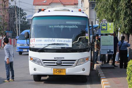 mini bus: CHIANGMAI, THAILAND -FEBRUARY 13 2016:   Yutong Mini Bus. New bus of Chiangmai city bus or CMB. CMB management by ChiangMai Municipality. Photo at Chiangmai Bus station,Chiangmai, thailand. Editorial