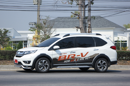 HONDA: CHIANGMAI, THAILAND -FEBRUARY 16 2016:    Private New suv car, Honda BRV.   On road no.1001, 8 km from Chiangmai city. Editorial
