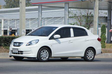amaze: CHIANGMAI, THAILAND -FEBRUARY 19 2016:   Private Eco car, Honda Brio Amaze.  On road no.1001, 8 km from Chiangmai city. Editorial
