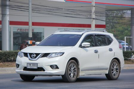 nissan: CHIANGMAI, THAILAND -FEBRUARY 21 2016:  Private Suv car, Nissan X trail.  On road no.1001, 8 km from Chiangmai city. Editorial