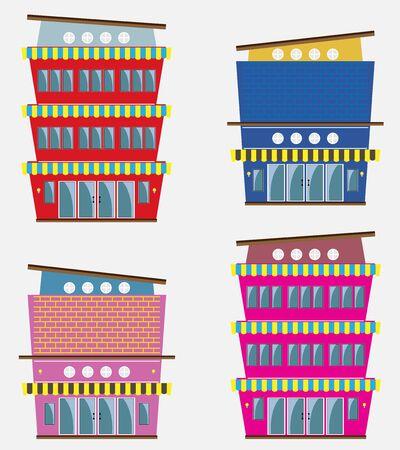 modern restaurant: Set of Modern restaurant building