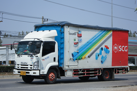 transportation company: CHIANGMAI, THAILAND -FEBRUARY 27 2016:   Container truck of A.Aphiban Transportation company. Photo at road no.1001 about 8 km from downtown Chiangmai, thailand. Editorial