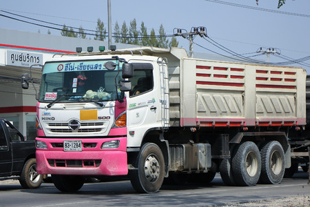 km: CHIANGMAI, THAILAND -MARCH 1 2016:  Trailer Dump truck of Thanachai Company. On road no.1001, 8 km from Chiangmai city. Editorial