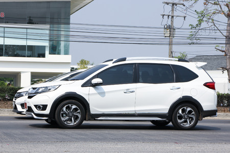 HONDA: CHIANGMAI, THAILAND -MARCH 7 2016:  Private New suv car, Honda BRV. On road no.1001, 8 km from Chiangmai city. Editorial