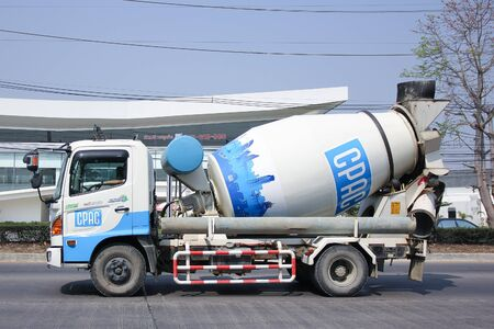 medium size: CHIANGMAI, THAILAND -MARCH 8 2016:  Concrete Medium size truck of CPAC Concrete product company. Photo at road no.121 about 8 km from downtown Chiangmai, thailand.