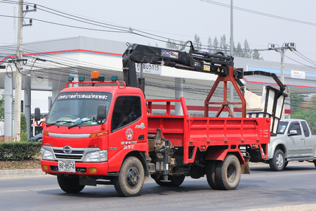 CHIANGMAI, THAILAND -MARCH 10 2016: Bucket truck of MaeHorphrae Subdistrict Administrative Organization. Photo at road no.121 about 8 km from downtown Chiangmai, thailand.