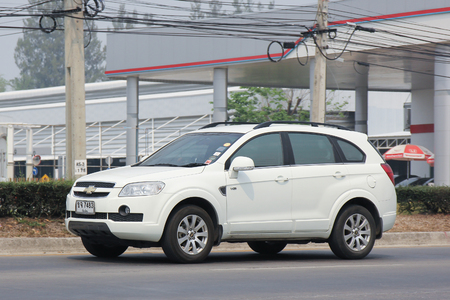 chevrolet: CHIANGMAI, THAILAND -MARCH 11 2016:   Private SUV car, Chevrolet captiva. On road no.1001, 8 km from Chiangmai city.