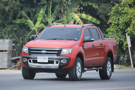 8   12: CHIANGMAI, THAILAND -MARCH 12 2016:   Private Pickup car, Ford Ranger. On road no.1001, 8 km from Chiangmai city.