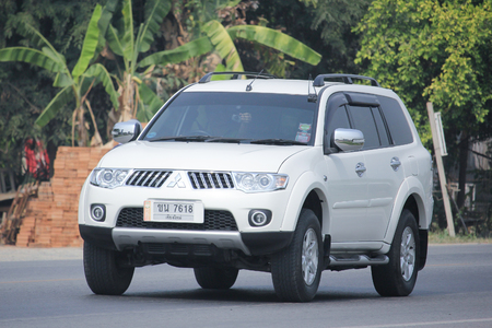 8   12: CHIANGMAI, THAILAND -MARCH 12 2016:  Mitsubishi Pajero Suv Car. Photo at road no.1001 about 8 km from downtown Chiangmai, thailand.