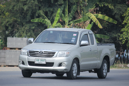 CHIANGMAI, THAILAND -MARCH 12 2016:   Private Pickup car, Toyota Hilux. Photo at road no 121 about 8 km from downtown Chiangmai, thailand.