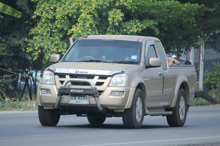 8 12: CHIANGMAI, THAILAND -MARCH 12 2016:   Private Pick up Truck, Isuzu D-max,dmax. Photo at road no 121 about 8 km from downtown Chiangmai, thailand.