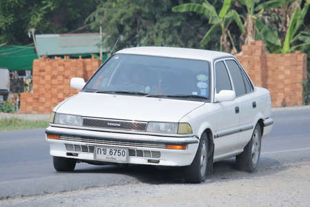 8 12: CHIANGMAI, THAILAND -MARCH 12 2016:  Private car, Toyota Collora. Photo at road no 121 about 8 km from downtown Chiangmai, thailand.