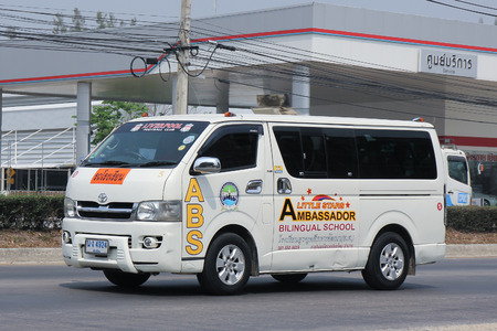 ambassador: CHIANGMAI, THAILAND -MARCH 15 2016: School bus van of Little Stars Ambassador Bilingual School . On road no.1001, 8 km from Chiangmai city. Editorial