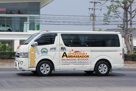 bilingual: CHIANGMAI, THAILAND -MARCH 15 2016: School bus van of Little Stars Ambassador Bilingual School . On road no.1001, 8 km from Chiangmai city. Editorial