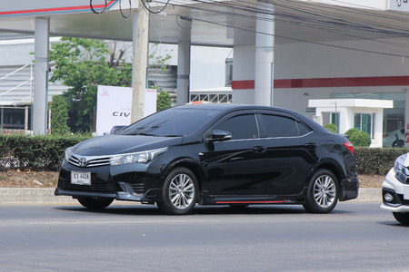 CHIANGMAI, THAILAND -MARCH 15 2016:  Private car, Toyota Corolla Altis. Photo at road no 121 about 8 km from downtown Chiangmai, thailand.