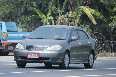 corolla: CHIANGMAI, THAILAND -APRIL 5 2016:   Private car, Toyota Corolla Altis. Photo at road no 121 about 8 km from downtown Chiangmai, thailand.