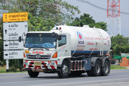 gas supply: CHIANGMAI, THAILAND -MAY 3 2016:  Chiangrai Gas supply Company Truck. For PTT LPG Gas. Photo at road no 121 about 8 km from downtown Chiangmai, thailand.