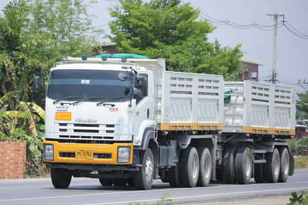 cpl: CHIANGMAI, THAILAND -MAY 3 2016: 10 wheel Dump Truck of CPL Company.  Photo at road no.1001 about 8 km from downtown Chiangmai, thailand. Editorial