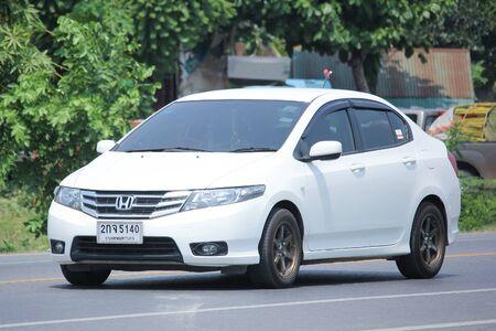 HONDA: CHIANGMAI, THAILAND -MAY 3 2016:  Private City Car, Honda City. On road no.1001, 8 km from Chiangmai city.