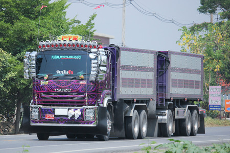 prem: CHIANGMAI, THAILAND -MAY 6 2016:  Container truck of Prem Transport Company.  Photo at road no 121 about 8 km from downtown Chiangmai, thailand.