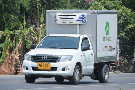 refrigerated: CHIANGMAI, THAILAND -MAY 6 2016: Refrigerated container Pickup truck of Betagro Company.  Photo at road no 121 about 8 km from downtown Chiangmai, thailand.