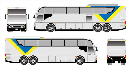 low floor: Modern bus , sporty bus Illustration