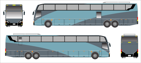 low floor: Modern Long bus vector, Colour sporty bus