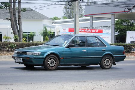 nissan: CHIANGMAI, THAILAND -MAY 16 2016:   Private old car, Nissan Bluebird. Photo at road no 121 about 8 km from downtown Chiangmai, thailand.