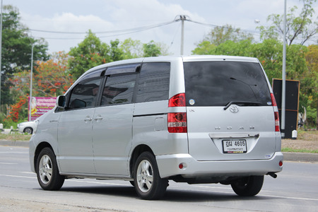 sliding doors: CHIANGMAI, THAILAND -MAY 21 2016:   Private Toyota Noah. Eight seater MPV with two rear sliding doors sold in Asia and Africa. Photo at road no.1001 about 8 km from downtown Chiangmai, thailand.