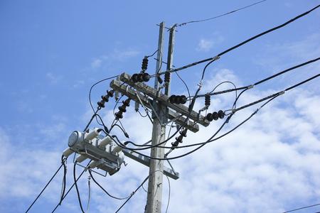 Closeup Eletricity line and electricity post