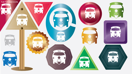 rikscha: Drei fahrbares Kraft Rikscha oder Tuktuk-Symbol. Illustration