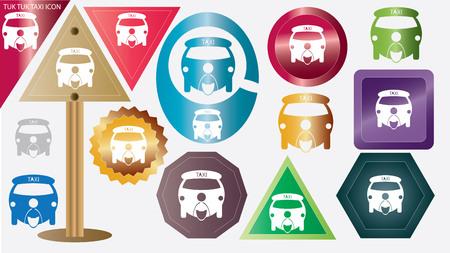 wheeled: Three wheeled motor rickshaw or Tuktuk icon.