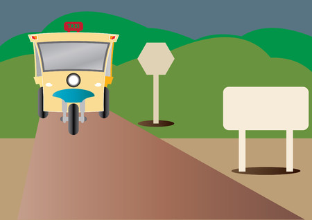 three wheel: Modern design of Three wheel Motor or Tuktuk with road from mountain and blank road sign