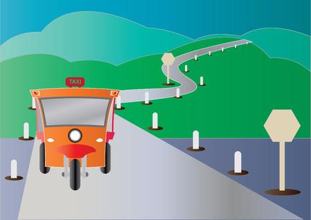 tuktuk: Modern design of Tuktuk with road from mountain Illustration