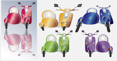 sidecar: Set of retro scooter motorbike and sidecar , Front view many colours sof scooter