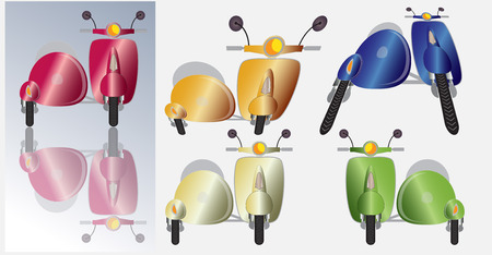 Set of retro scooter motorbike and sidecar , Front view many colours sof scooter