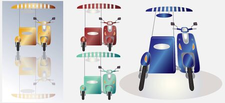 sidecar: Set of retro scooter motorbike and sidecar cold container
