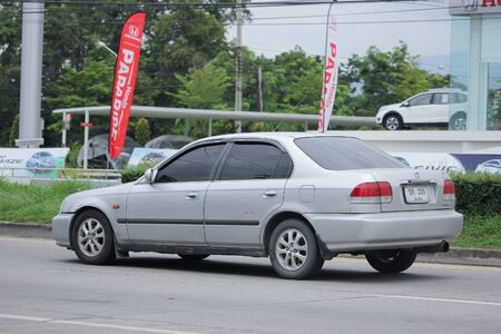 km: CHIANGMAI, THAILAND -JULY 17 2016: Private Old Car Honda Civic. On road no.1001, 8 km from Chiangmai city. Editorial