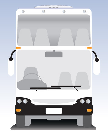 front wheel drive: Front view of Double deck Modern touring bus Illustration
