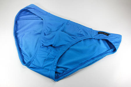 public company: CHIANGMAI, THAILAND -JULY 23 2016: Product shot of Elle Homme, Blue bikini Underwear from Tactel Fabric mix Spandex. Elle Homme in thailand made and sale by I.C.C. International Public Company.