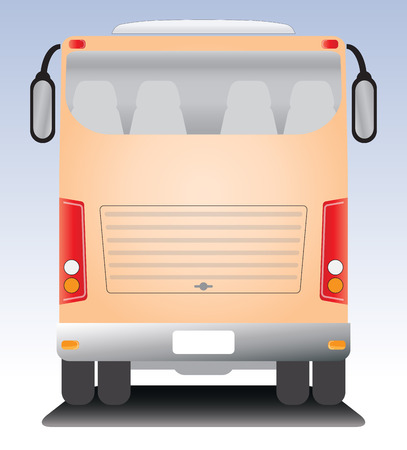 touring: Back view of  Modern touring Coach  bus Illustration