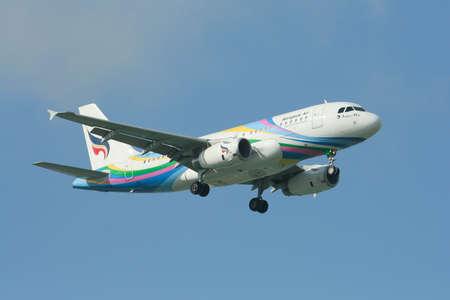 CHIANGMAI , THAILAND- NOVEMBER 3 2008: HS-PGY Airbus A319-100 of Bangkok airway. Landing to Chiangmai airport from Bangkok Suvarnabhumi.