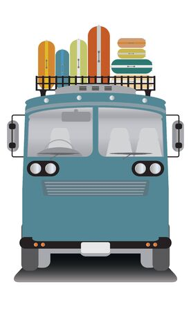 old bus: front view of old bus and bag on roof Illustration