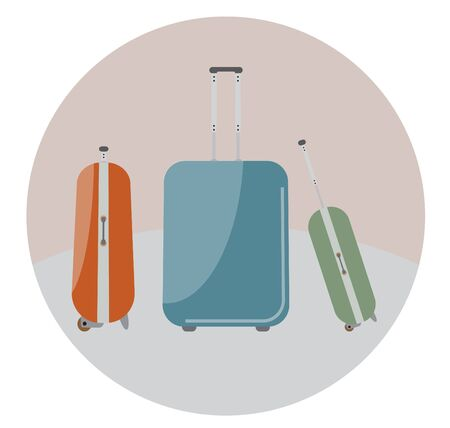 Travel bags in retro colour Illustration