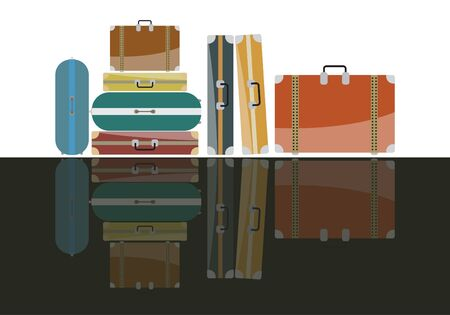 group travel: Group of Travel bags and shadows Illustration