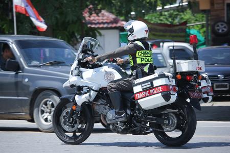 CHIANGMAI, THAILAND -JULY 27 2016:  Motorbike and Police Chiangmai Traffic Police.  On road no.1001, 8 km from Chiangmai Business Area.